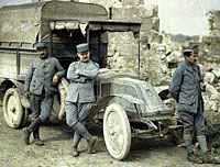 WWI Color Photos - French Officers by a vehicle