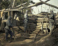 WWI Color Photos - German soldiers outside a bunker